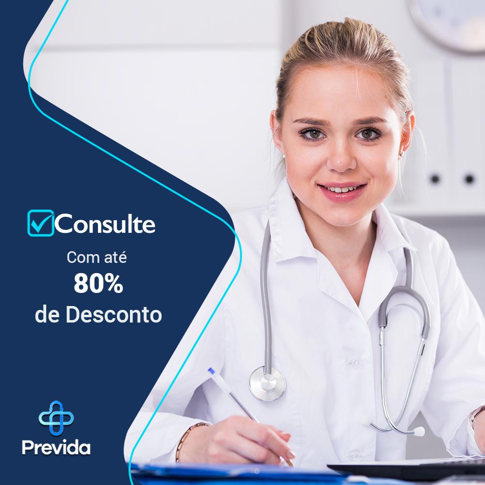 Banner da previda com médica olhando para frente escrito consulte com até 80% de Desconto em baixo na esquerda a logo da previda